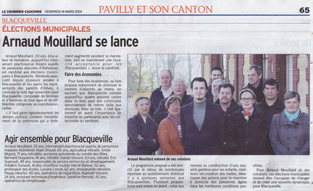 Arnaud MOUILLARD Agir Ensemble pour Blacqueville Courrier Cauchois