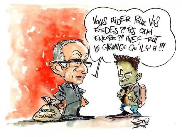 Djony supression bourses seine-maritime pascal martin caricature