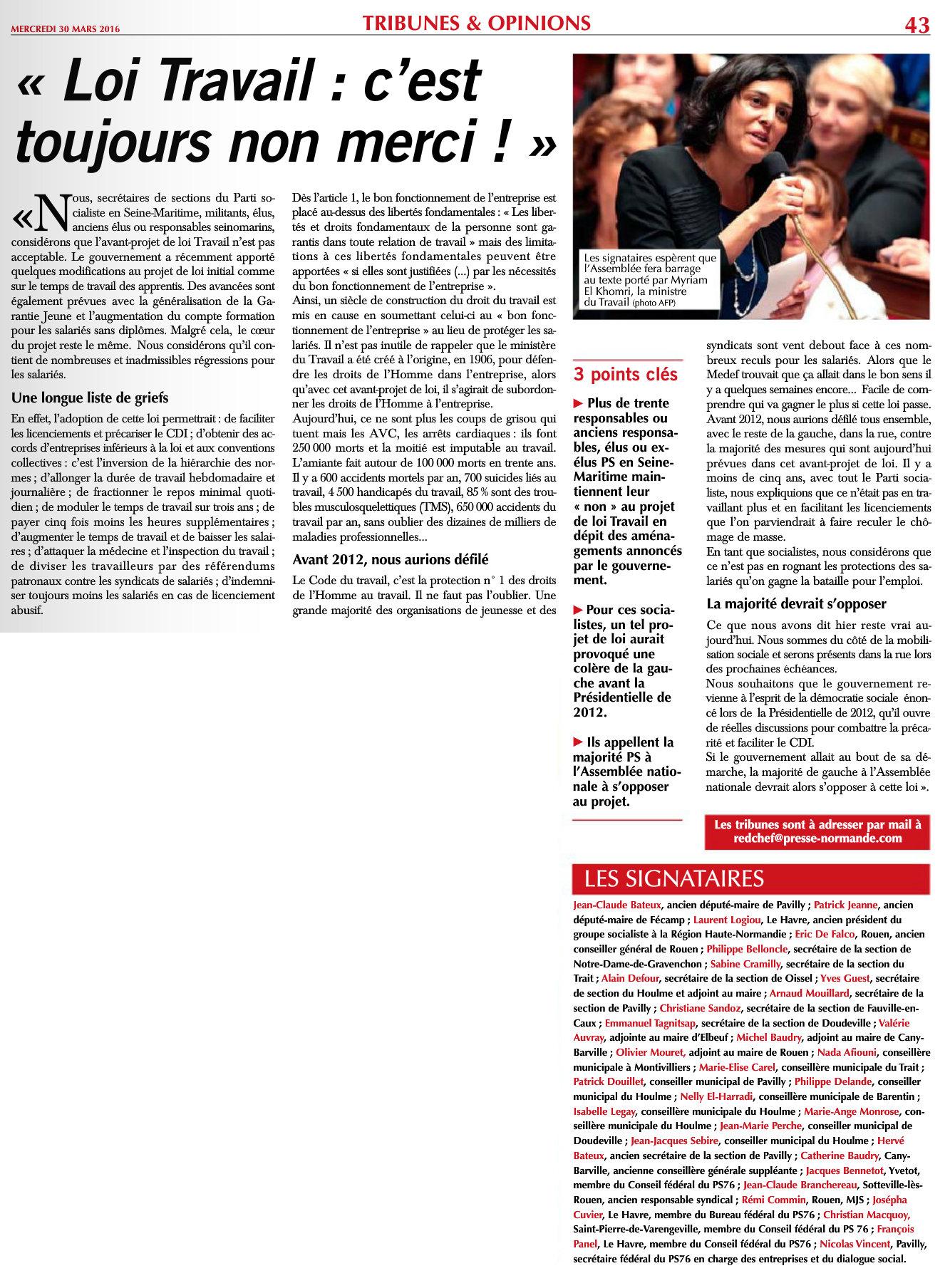 Tribune Paris Normandie Loi Travail 30-03-2016